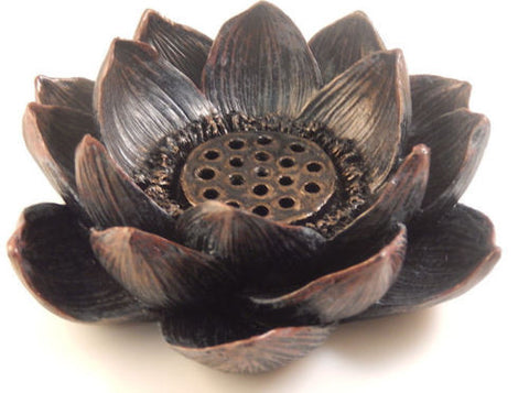 Lotus Incense holder and T Light Candle holder - Floral Stick Incense burner - Lotus Flower