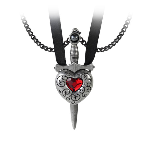 Love is King Secret Bethothal Necklace - Alchemy Gothic Sword and Heart Couples Pendant
