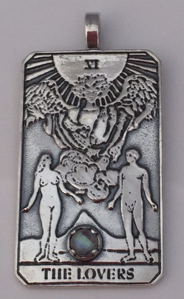 LOVERS Tarot Card Pendant 925 Sterling Silver with gemstone choice - Handcrafted in the USA