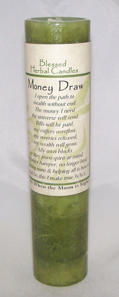 MONEY DRAW Candle Wiccan Pagan Coventry Creations MONEY Blessed Herbal candle