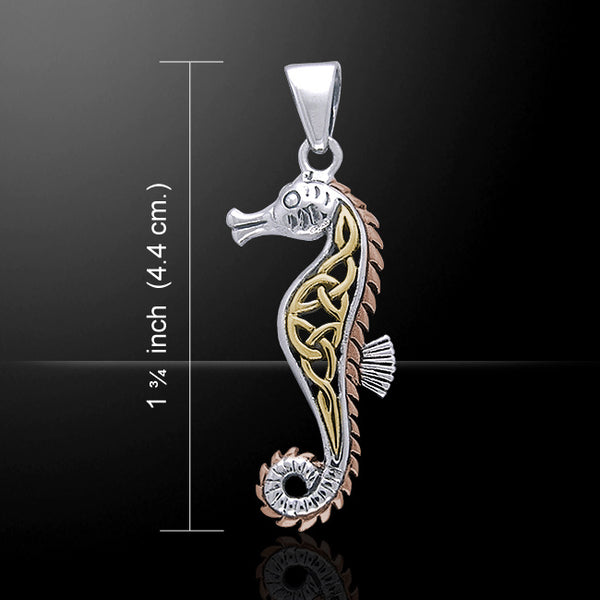 Celtic SEAHORSE Pendant .925 Sterling Silver & 18k Pink and Yellow Gold