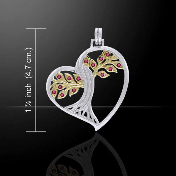 SOLSTICE Tree Heart Pendant .925 Silver Gold vermeil CELTIC TREE of LIFE with Ruby gems