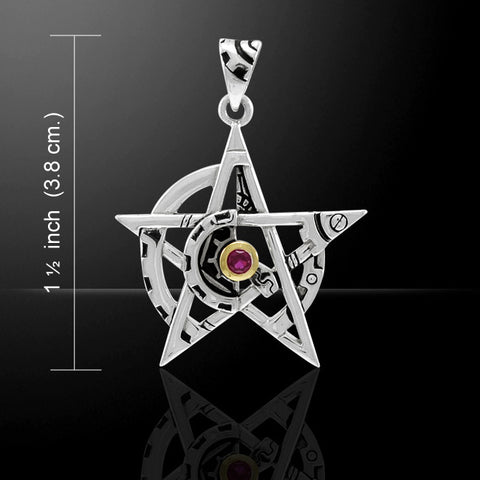 Pentacle Steampunk Pendant .925 Sterling Silver Victorian Fantasy pendant style 2 with gold accent
