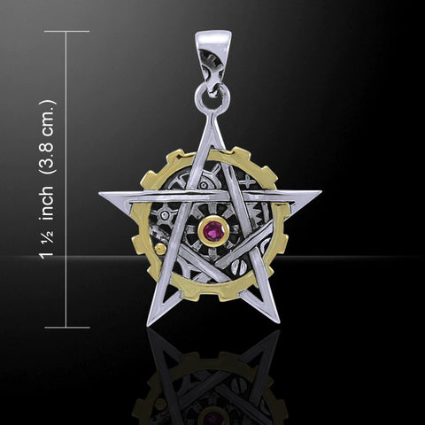 Pentacle Steampunk Pendant .925 Sterling Silver Victorian Fantasy pendant style 1 with gold accent