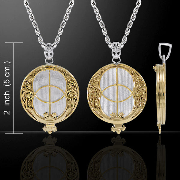 Chalice Well Necklace Sterling Silver with Gold vermeil - Glastonbury Tor Pendant with 24 inch chain