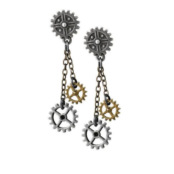 Cog and Wheels Steampunk Earrings - Alchemy Gothic Machine Head Dangle earrings