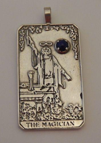 MAGICIAN Tarot Card Pendant in .925 Sterling Silver with genuine Lapis Lazuli Gemstone