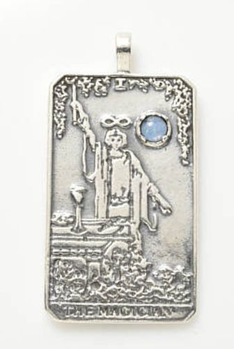 MAGICIAN Tarot Card Pendant in .925 Sterling Silver with genuine Opal Triplet Gemstone