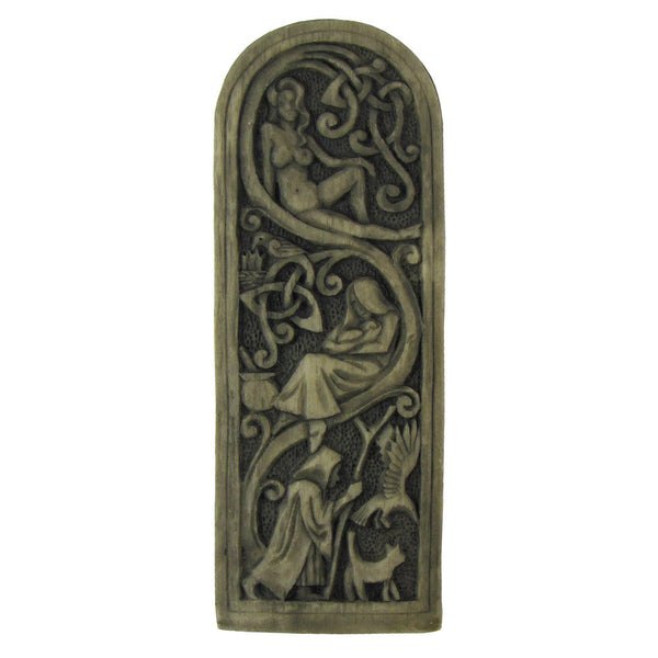 Triple Goddess Maiden Mother Crone Wall Plaque - Dryad Design Wiccan Pagan Plaque in Wood or Stone Finish