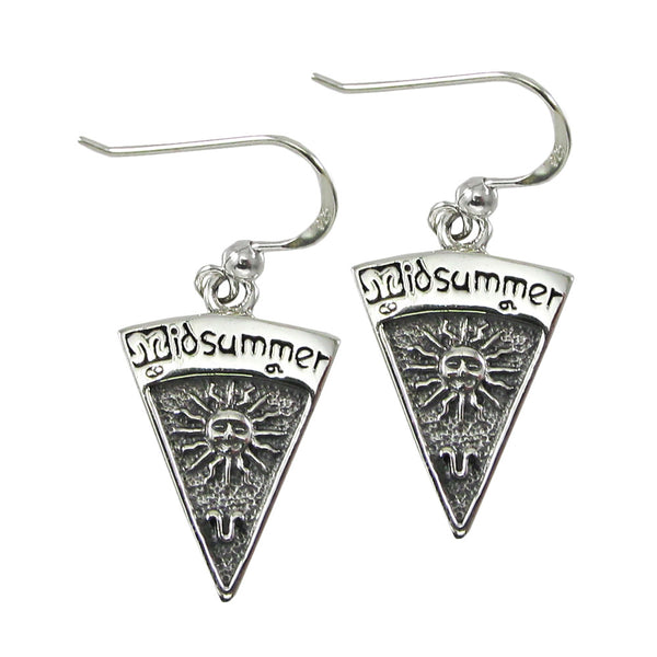 Midsummer Sabbat Earrings  .925 Sterling Silver Dryad Design Summer Solstice Sun Leo Earrings