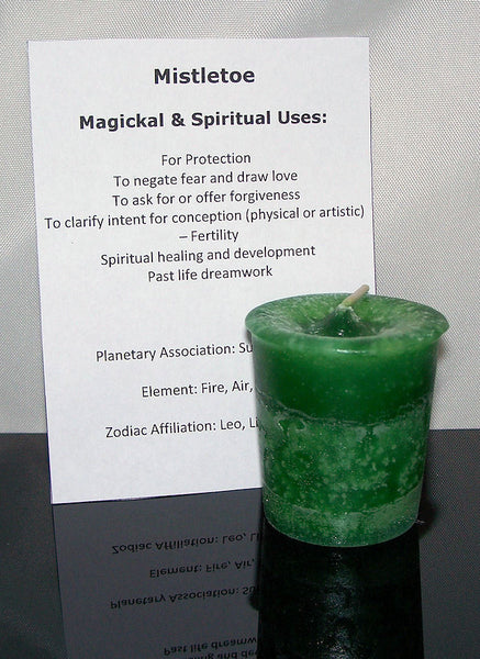 Mistletoe candle CRYSTAL JOURNEY Candles for LOVE Forgive PROTECTION Dreamwork
