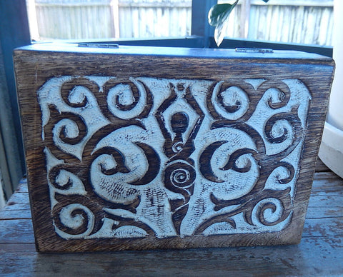 Moon Goddess Trinket Box | Goddess Mango Wood Treasure Tarot box | 7x5 inches