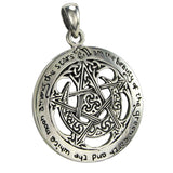 Horned Moon Pentacle Pendant by Dryad Design in .925 Sterling SILVER - CELTIC ISIS Wicca lg cutout Amulet