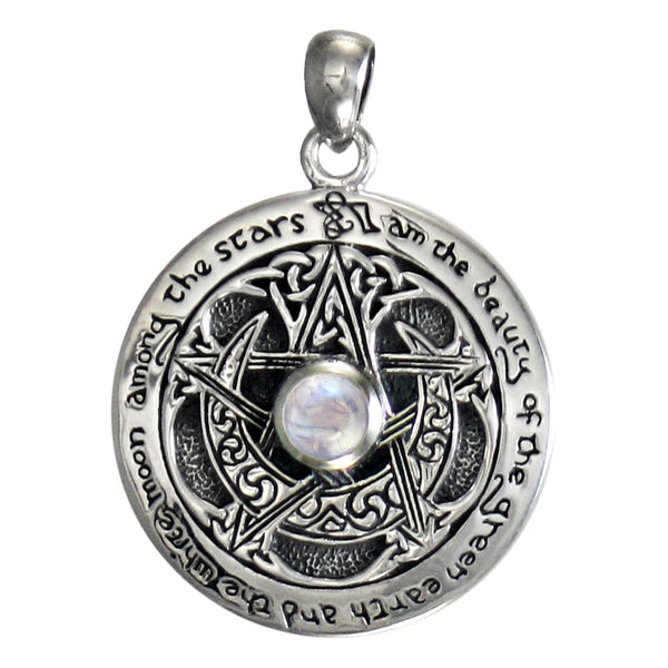Horned MOON PENTACLE Pendant in .925 Sterling Silver by Dryad Design with Rainbow Moonstone - solid background.