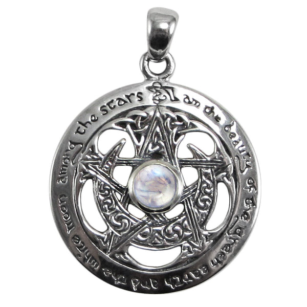 Moon Pentacle Pendant with cut outs in .925 Sterling Silver by Dryad Design with Rainbow Moonstone