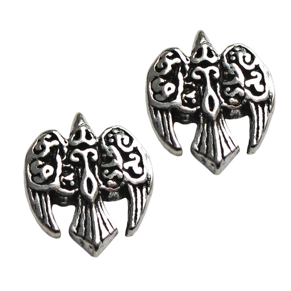 Raven Crow Stud Earrings .925 Sterling Silver Morrigan Goddess Wiccan Pagan DRYAD DESIGN Raven