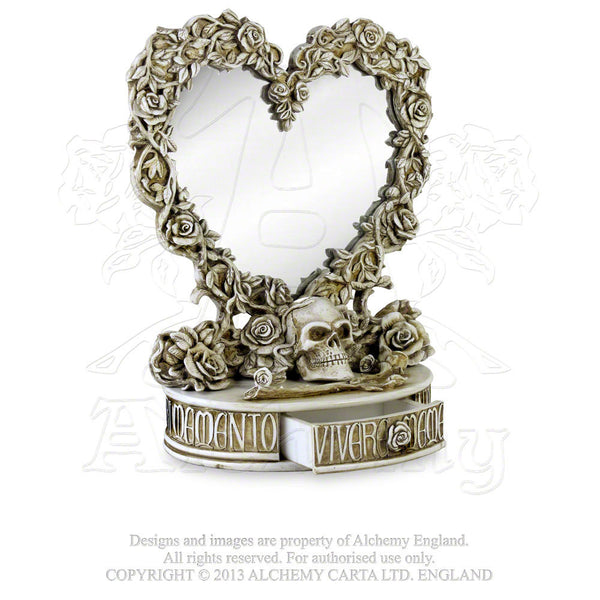 Oracle of Narcissus Mirror with Drawer - Alchemy Gothic Heart Shaped Mirror featuring Skull and Roses