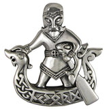 Norse God Njord Pendant in .925 Sterling Silver - Dryad Design Viking God of Wealth Commerce Travel - Dragon Ship