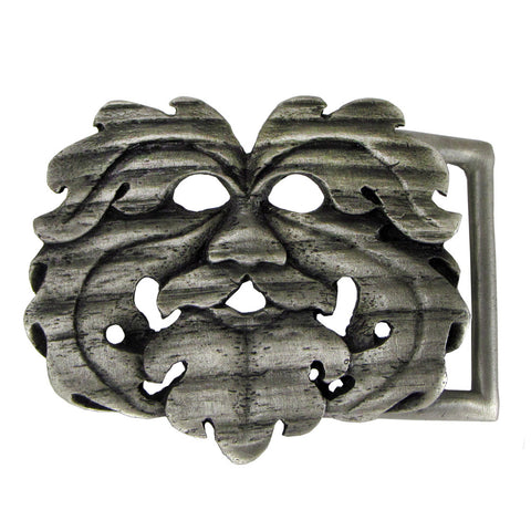 Green Man Oak King Belt Buckle Dryad Design Pewter Celtic Greenman buckle
