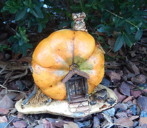 Fairy Garden Orange Pumpkin Statue - Miniature Faery House for Yard or Home Decor Figurine