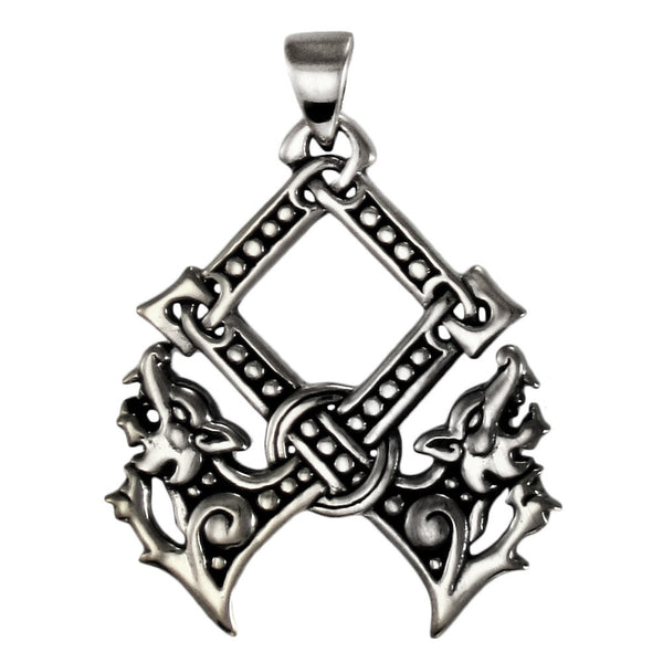 OTHALA NORSE RUNE Pendant .925 Sterling Silver - WOLVES Protection Dryad Design PROSPERITY Amulet