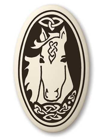 Epona Horse Pendant - Handcrafted Porcelain Oval Horse Equine Necklace Amulet