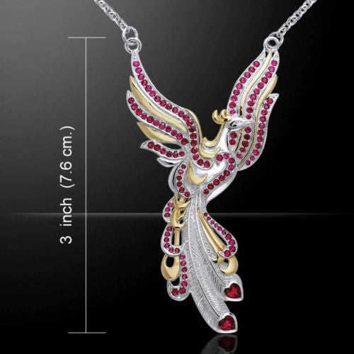 PHOENIX Necklace .925 Sterling Silver w/ 18K Gold vermeil accent and Ruby gemstones - Solar FIRE BIRD