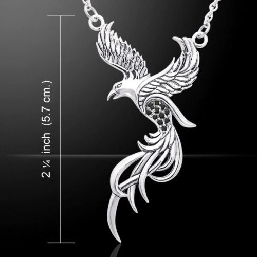 Flying Phoenix Necklace in .925 Sterling Silver with Black Swarovski crystals - Solar FIRE BIRD necklace