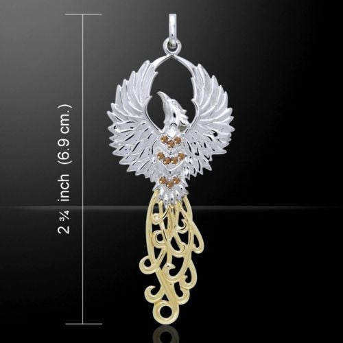 PHOENIX Rising Pendant in .925 Sterling Silver with 18K gold accents and brown Swarovski cystals - Solar FIRE BIRD