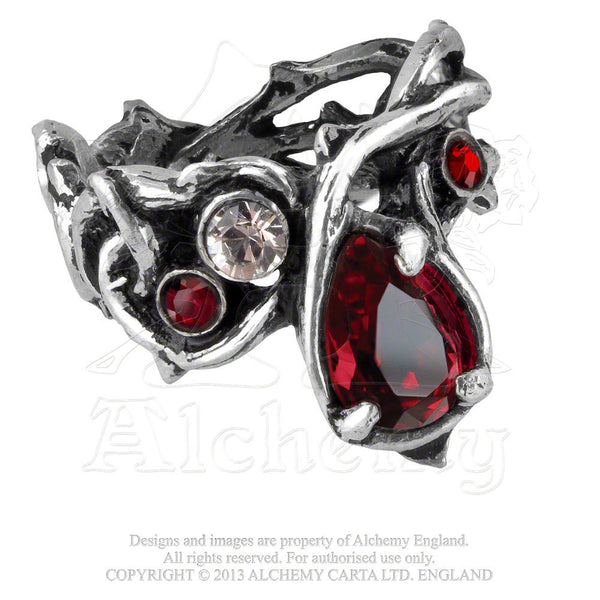Thorns of Passion Ring - Alchemy Gothic Blood Red Swarovski crystal Passion jewelry