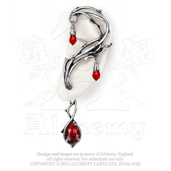 Thorns of Passion Ear Wrap - Alchemy Gothic Blood Red Swarovski crystal Passion jewelry