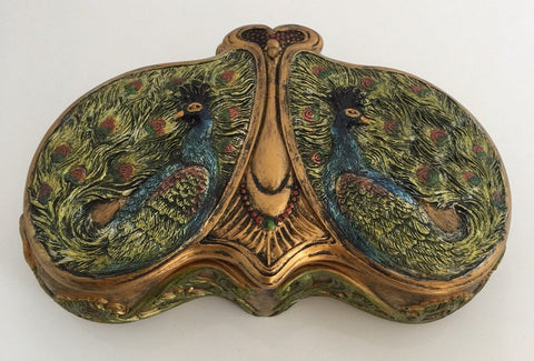 Peacock Jewelry Box - Double Peacock Hand painted Gold Colorful Trinket Box