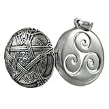 Moon Pentacle Pendant Locket in solid Sterling Silver - Dryad Design Triskelion Aromatherapy amulet