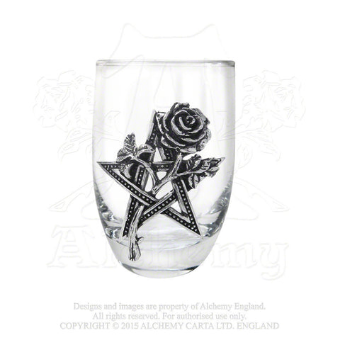 Pentacle with Gothic Rose Glass - ALCHEMY GOTHIC Ruah Vered Shot Glass with Pentagram
