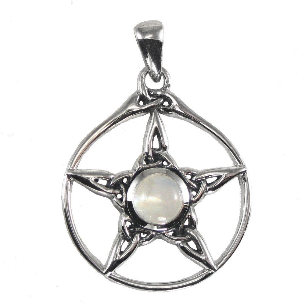 Triquetra pentacle pendant in 925 sterling silver with rainbow triquetra pentacle pendant in 925 sterling silver with rainbow moonstone dryad design pentagram jewelry aloadofball Gallery