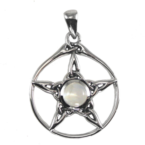 Triquetra Pentacle Pendant in .925 Sterling Silver with Rainbow Moonstone - Dryad Design Pentagram jewelry