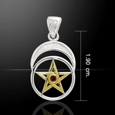 Celtic Pentacle Moon Pendant in .925 Sterling Silver with gold and garnet red stone