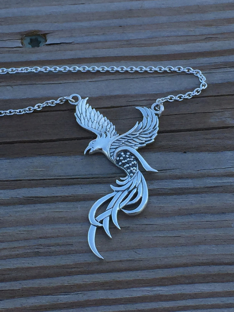 Flying phoenix necklace in 925 sterling silver with black swarovski flying phoenix necklace in 925 sterling silver with black swarovski crystals solar fire bird mozeypictures Image collections