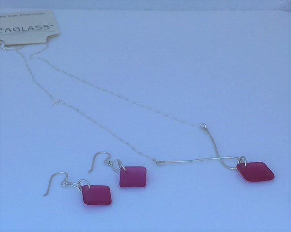 Pink Sunset Sea Glass Sterling Silver Earring and Necklace Set with 18 inch Chain