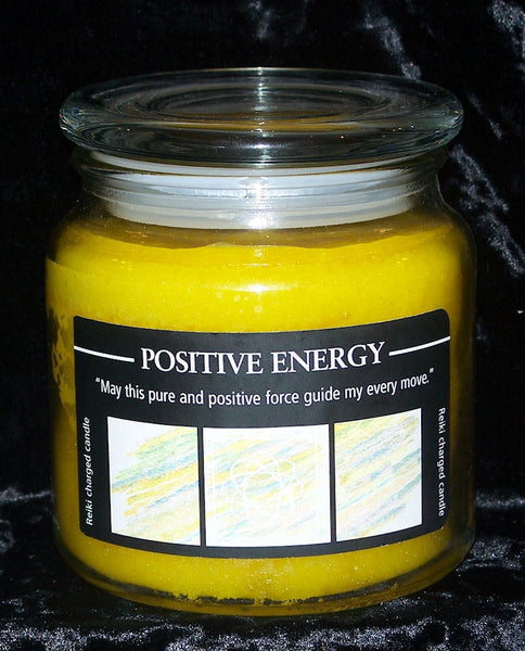 Positive Energy Candle Crystal Journey Yellow Reiki Herbal Magic Jar Candle