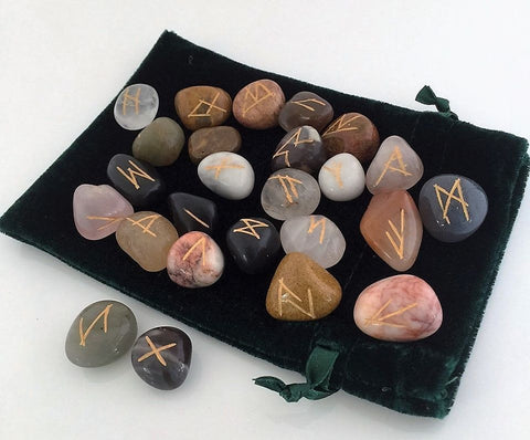 RUNE Set Elder Futhark Handmade Multi-gem agate Oracle Set Norse Viking Runes