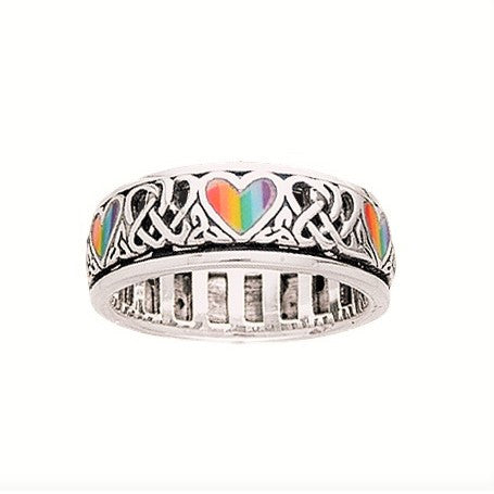 Rainbow Hearts Ring in .925 Sterling Silver - Heart Rainbow Celtic Knots Spinner Ring - Pride Jewelry