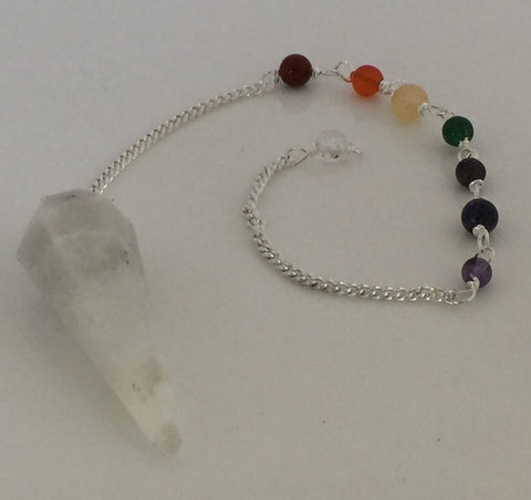 Rainbow Moonstone Chakra Pendulum - Twelve Sided Dowsing Divination Pendulum