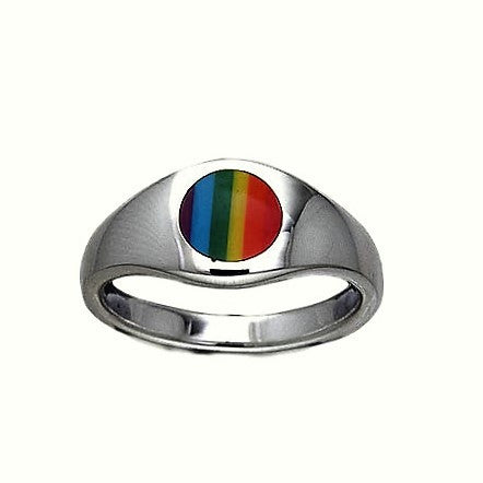 Rainbow Round Signet Ring in .925 Sterling Silver - Round Rainbow Dome Ring - Pride Jewelry