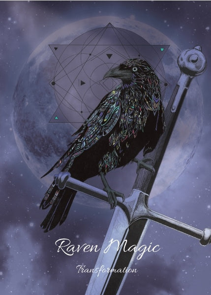 Raven Magick Greeting Card - Raven and Sword Full Moon Transformation Card - Art by Karin Roberts