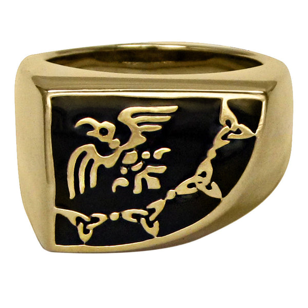 Raven Skeleton Odin's Banner Signet Ring in gold tone Bronze - Viking Chieftain Flag Ring with black enamel