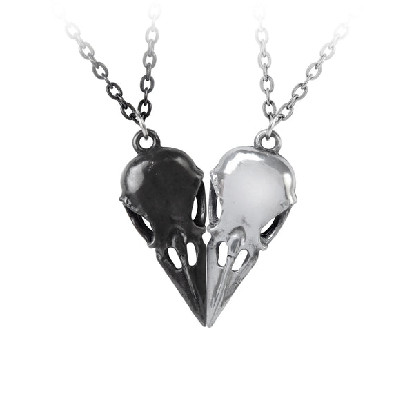 Raven Skull Heart Necklace - Alchemy Gothic Raven Coeur 2 Necklace set