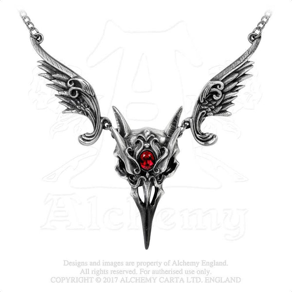 Raven Skull Masque Of The Black Rose Necklace - Alchemy Gothic Vampire Raven Mask Pendant