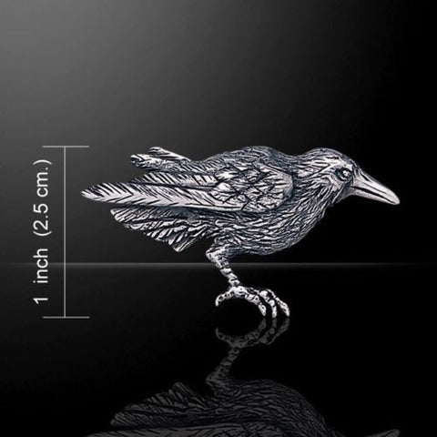 Raven Brooch in .925 Sterling Silver - Dark Moon Morrigan Crow Brooch Pin Magick