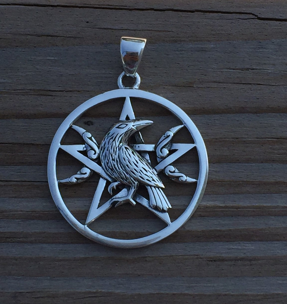 Raven moon pentacle pendant in 925 sterling silver dark moon raven moon pentacle pendant in 925 sterling silver dark moon morrigan crow magick pendant mozeypictures Choice Image